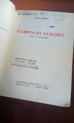 florencio sanchez, vida y creacion - julio imbert