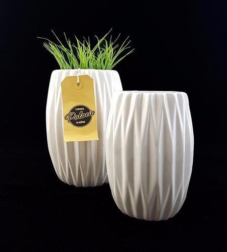 florero ceramica esmaltada blanca escandinavo grande 18cm