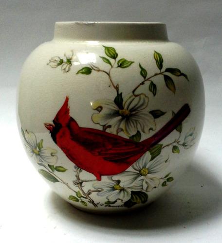florero cerámica inglesa vintage decorado dos pájaros