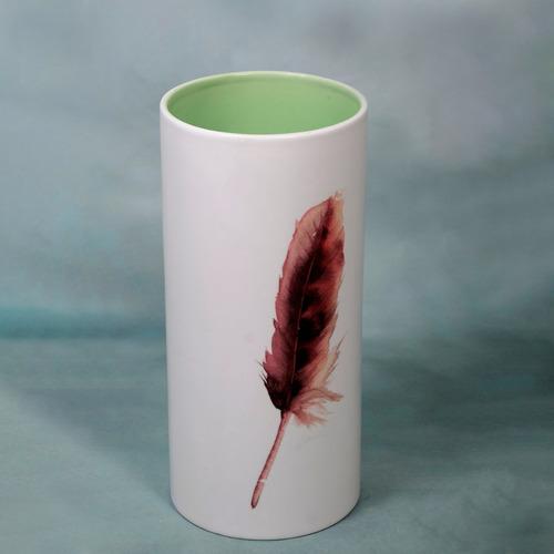 florero cilindro con hoja 30x14 cm decoración