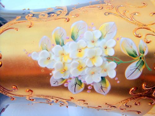 florero cristal bohemia glass - veneciano - czechoslovakia