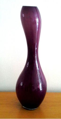 florero cristal murano forma 8 alargado uva y blanco