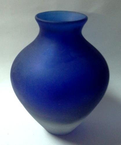 florero cristal murano opaco azul años sesenta