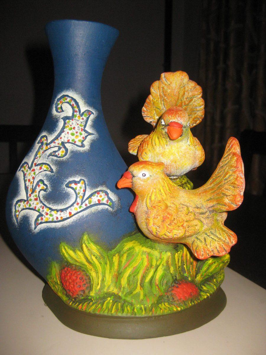 Florero de pajaritos pintado a mano en ceramica de for Bizcochos de ceramica