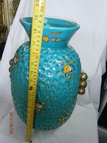florero en cerámica azul grande