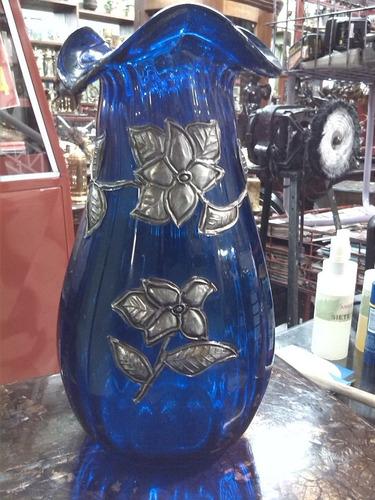 florero en cristal indu con enchape en peltre