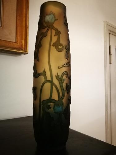 florero tip galle art nouveau vidrio firmado frances