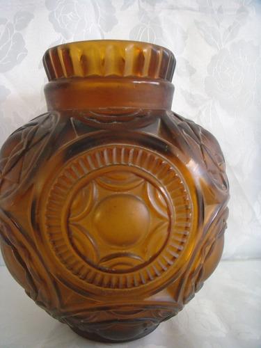 florero vidrio francés art-decó color ambar s/firma 25x22x11