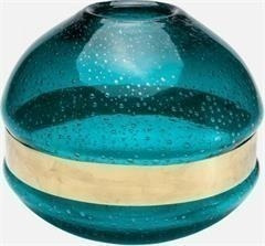 florero zone turquoise 18 cm kare (36897)
