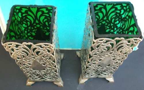 floreros  art  nouveau  de estaño  y  cristal