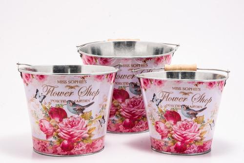 floreros balde vintage souvenir deco interior 14,5 cm cuotas
