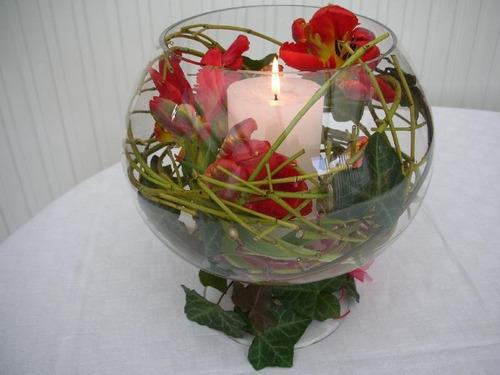 floreros bol de vidrio solo por docena