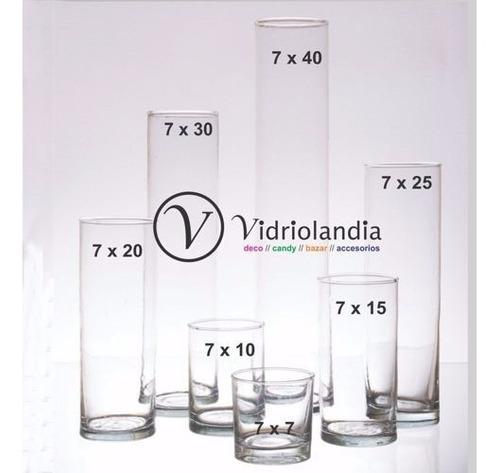 floreros cilindros de vidrio diametro 7 x 20 de alto tubos