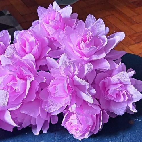 flores artesanais de crepon