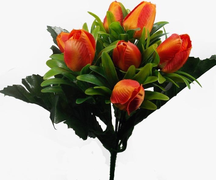 Flores artificiales tulipanes 4 ramos 28 flores con for Plantas decorativas artificiales df