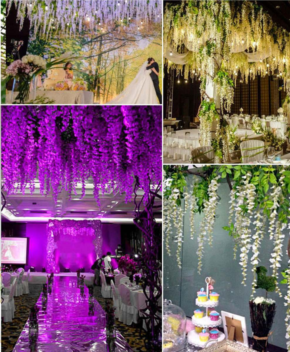 Flores artificiales para colgar x 6 unidades en for Plantas decorativas artificiales bogota