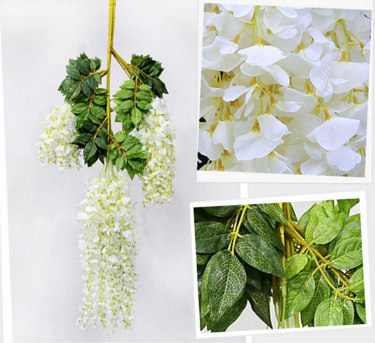 Flores artificiales para colgar x 6 unidades en for Plantas ornamentales artificiales