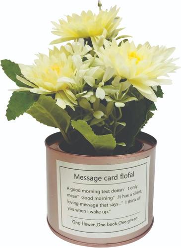 flores artificiales planta con macetero | decoración hogar