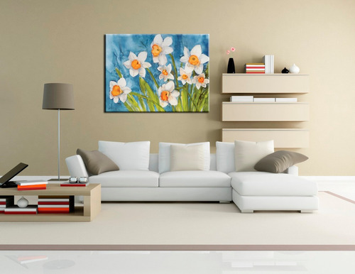 flores bastidor en tela canvas 90 cm x 67  cm