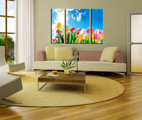 flores bastidor triptico en lienzo 120x80 exc calidad