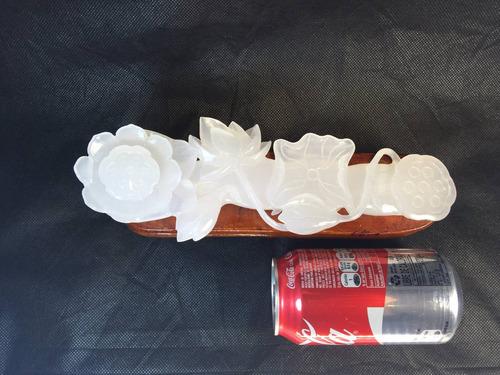 flores chinas de jade blanco tallado a mano con hojas