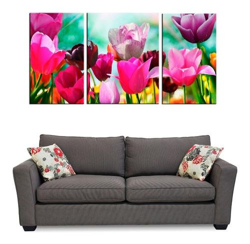 flores cuadro bastidor 100x50 triptico en tela canvas