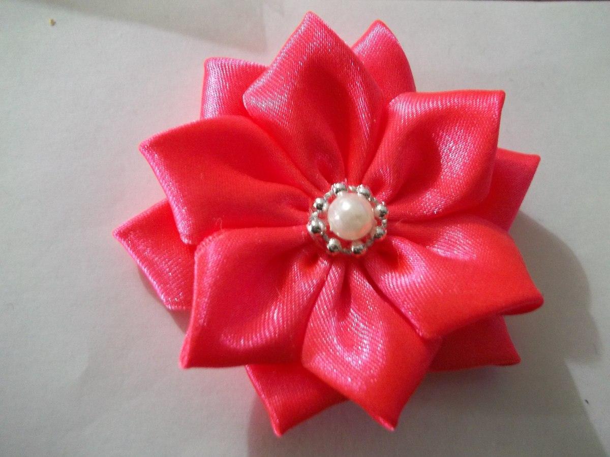 Flores de cinta y tela de raso grandes para cintillos - Todo tipo de manualidades para hacer ...