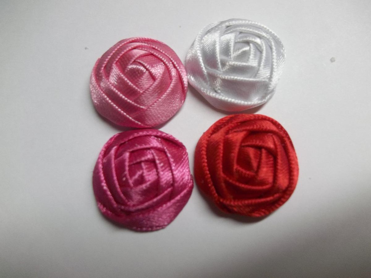 flores de cinta y tela mini botn para lazos recien nacidos