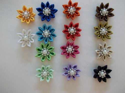 flores de cinta y tela para cintillos diademas lazos y ms