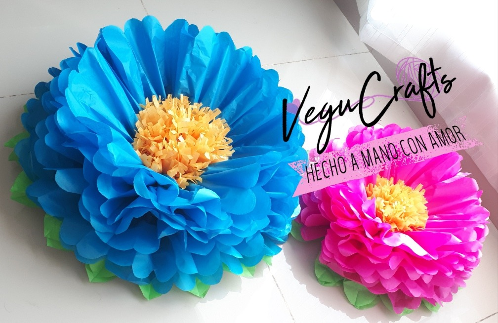 Flores De Papel China Flor Pompon Petalos Y Hojas 35 Cms 20 00