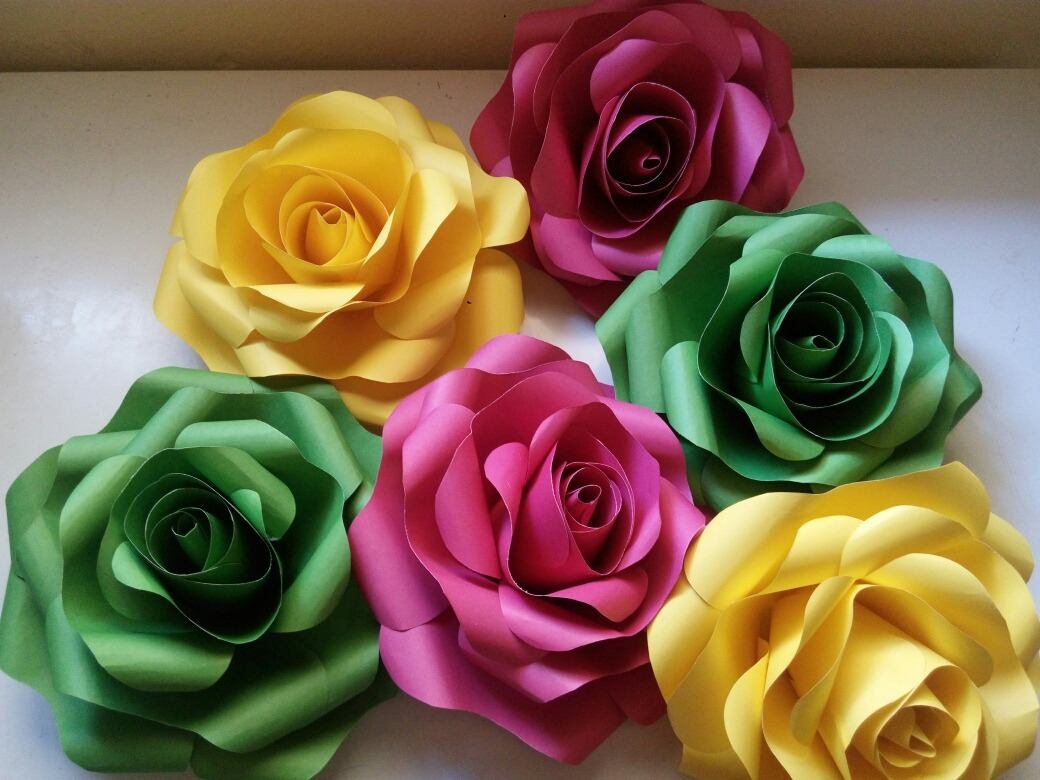 Flores De Papel Color Set Kit Contendo 6 Rosas R 3599 Em