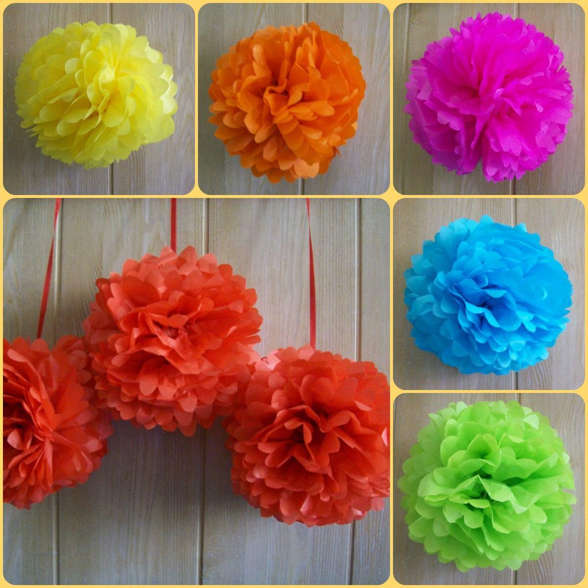 Flores De Papel De Seda Pompones P Decorar Girnaldas 7 50 En