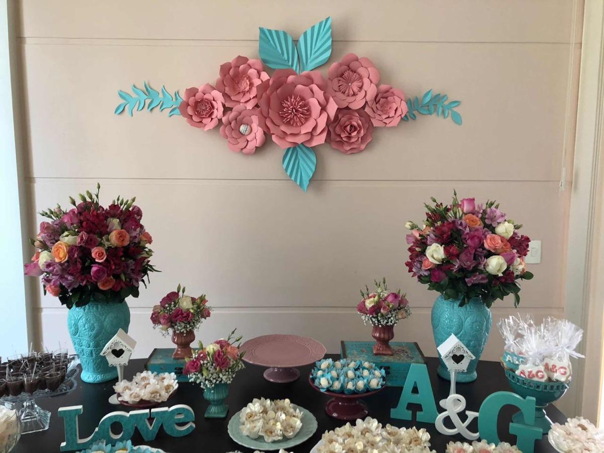 Flores De Papel Gigantes Painel Festa Decoraç u00e3o R$ 119,90 em Mercado L # Decoração De Flores Festa