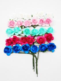 Flores De Papel Mini Con Cabo X 144 Florcitas