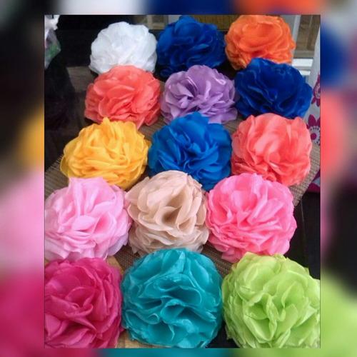 flores de tela tipo rosas, cintillos, coronas de flores 6cm