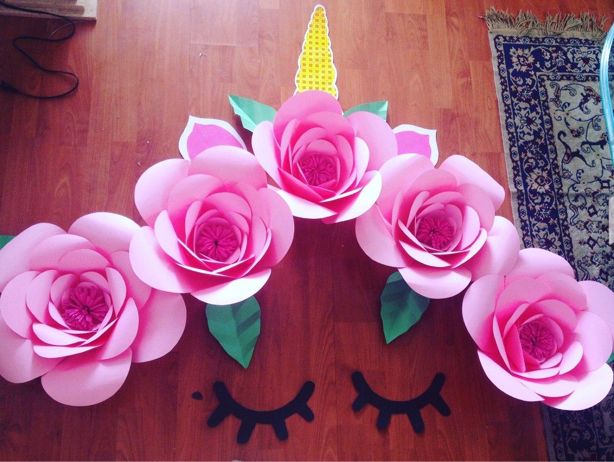 Flores en cartulina gigantes decoracion fiesta unicornio for Plantas de plastico para decoracion