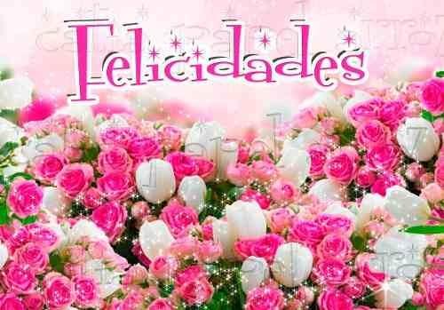 Felicitaciones De Cumpleaños Con Flores: Flores Felicidades Papel Arroz A4 Para Bolo