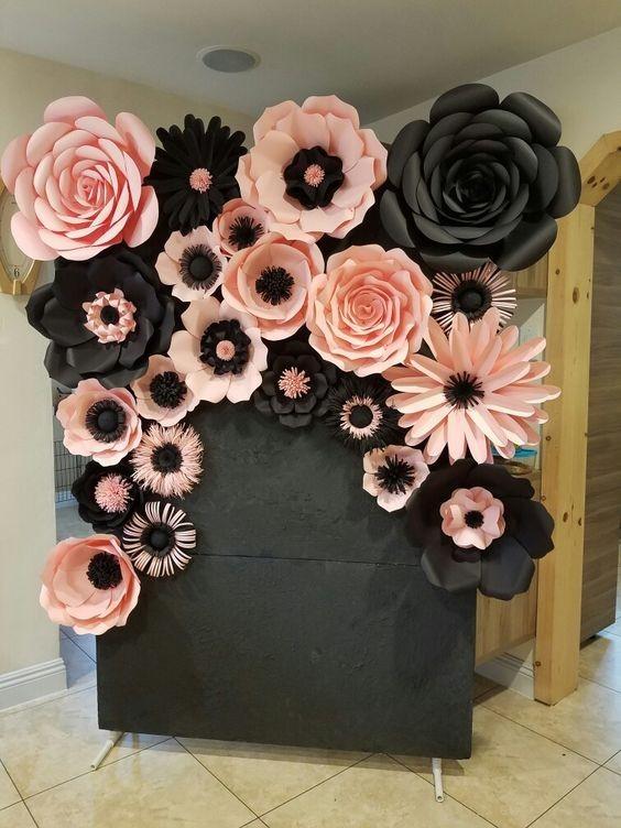 Flores gigantes de papel para fiestas eventos - Decoracion floral para bodas ...