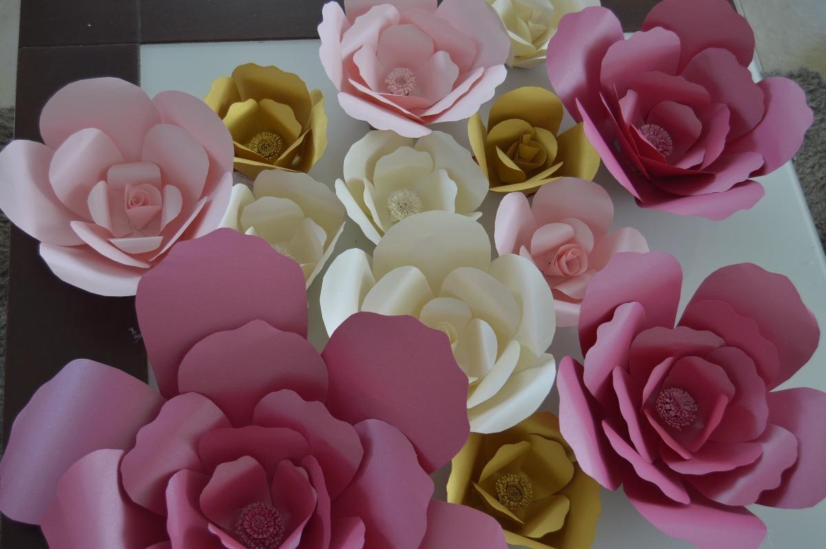 Flores gigantes de papel satinado 35 cms en for Rosas de papel