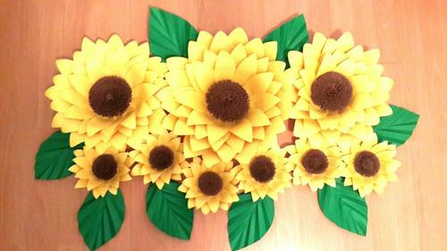 flores gigantes de papel. set de girasoles o margaritas