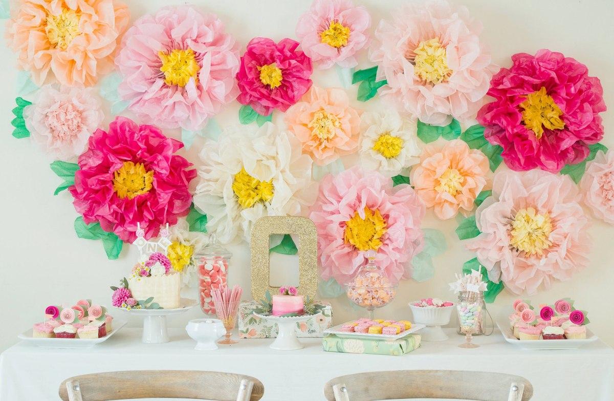 Flores gigantes para fiestas en papel de china eventos en mercado libre - Decorar con papel ...