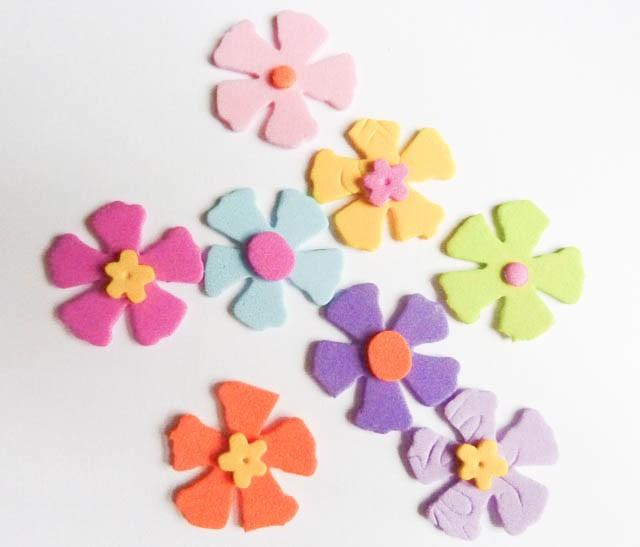 Flores goma eva aplicaciones formas manualidades 40 - Flores con goma eva ...
