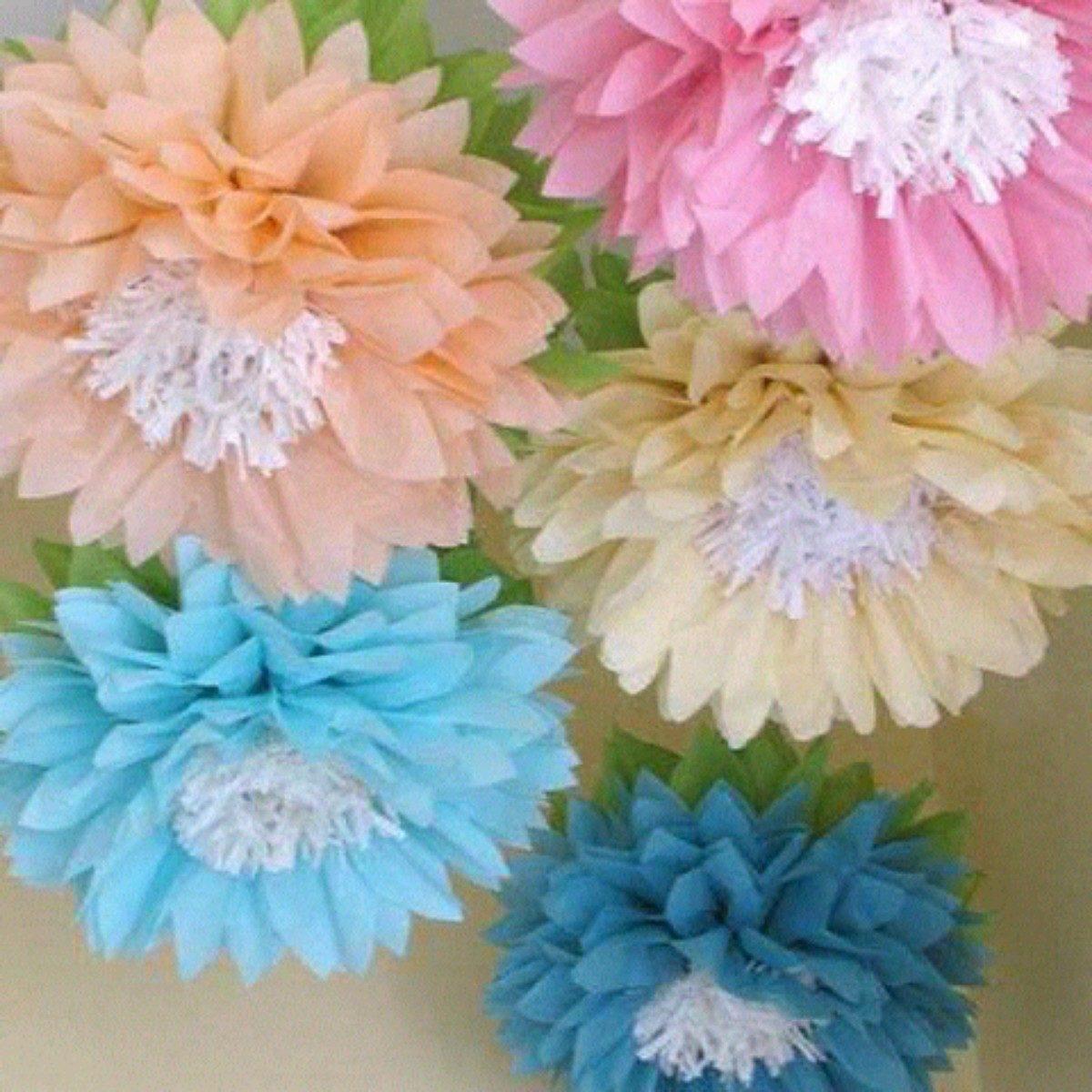 Flores mariposas pompones de papel seda bs 499 00 en - Pompones con papel de seda ...