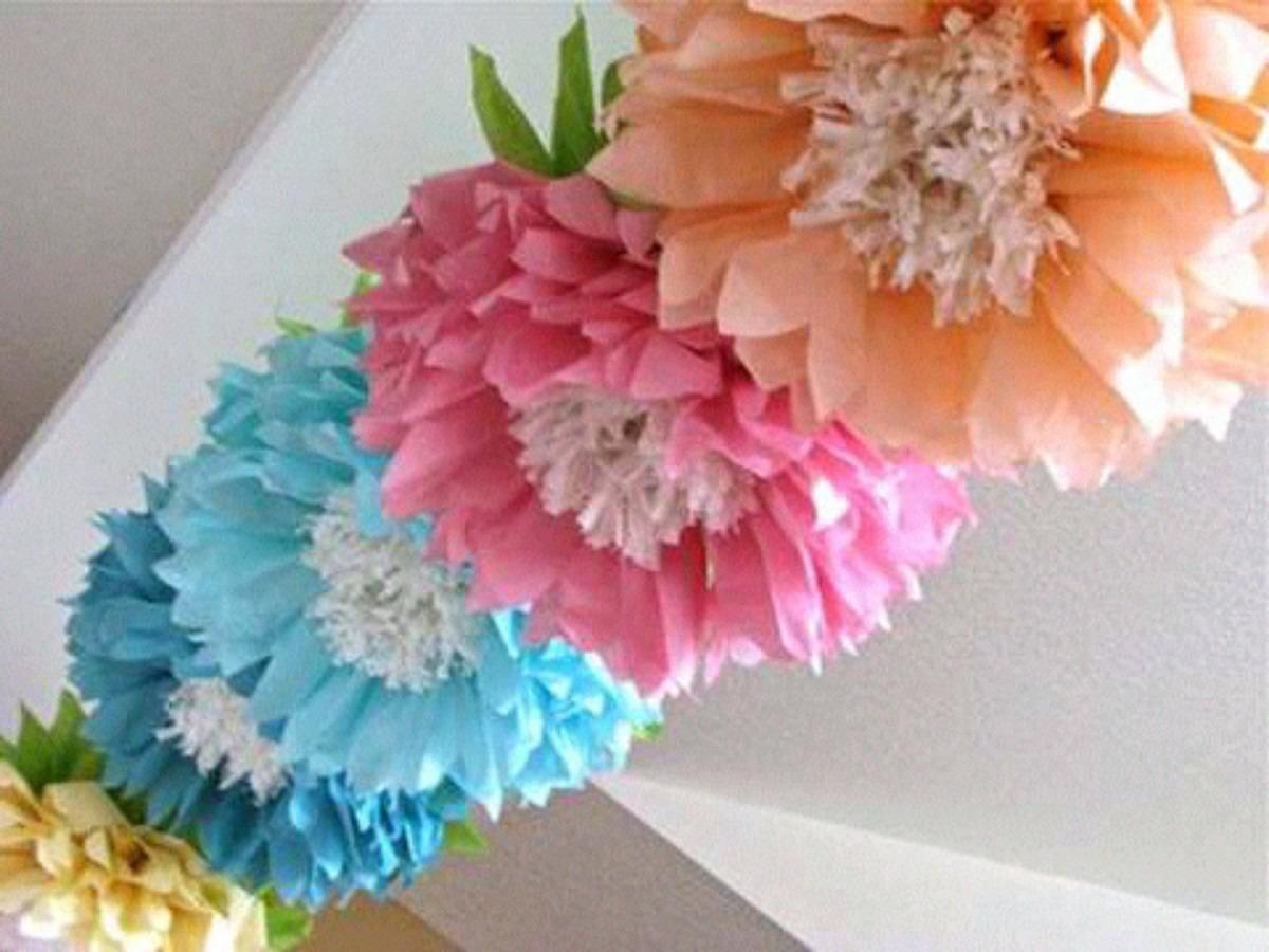 Flores mariposas pompones de papel seda bs 950 00 en - Pompones con papel de seda ...