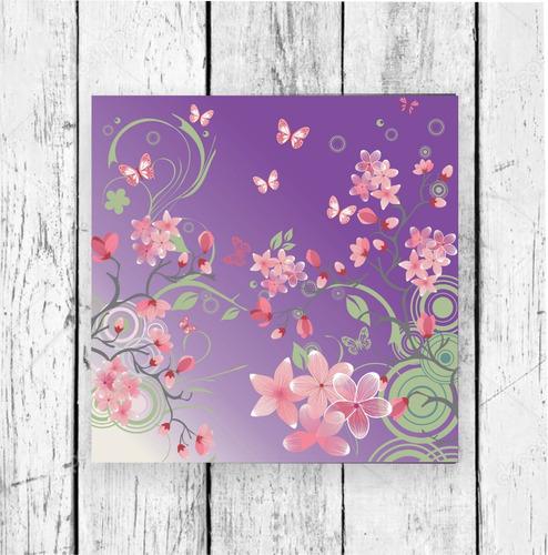 flores violeta - papel para origami 10x 10 cm