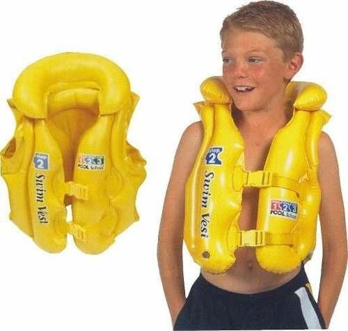 flotador chaleco amarillo inflable piscina mar niño niña