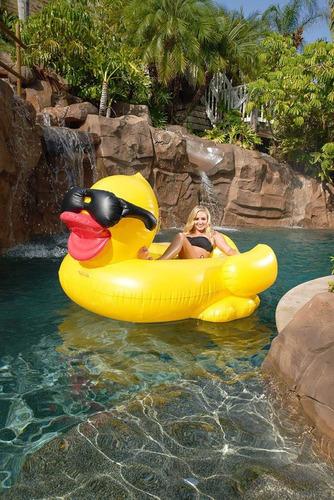 flotador inflable  con forma de pato para ´piscina broncear