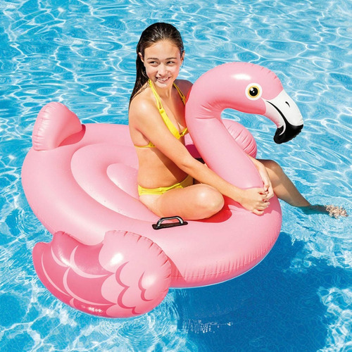 flotador inflable mediano piscina flamingo rosa