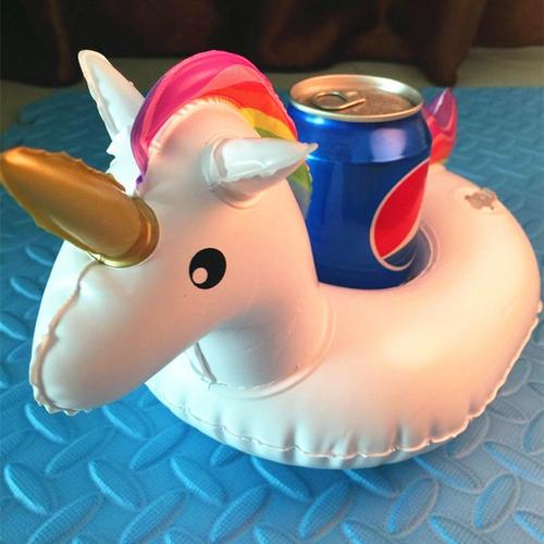 flotador inflable porta vasos unicornio flamingo topper
