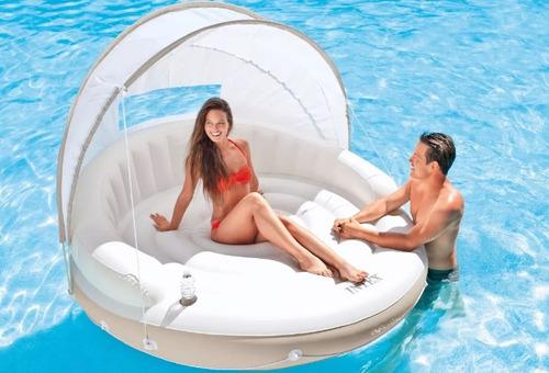 flotador lujo piscina techo canopy island intex 58292 adulto